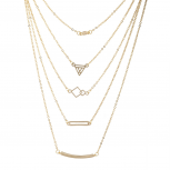 Gold Tone Five Row Geometric Layered Necklace