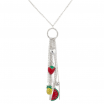 Silver Tone Bunch of Fruits Chain Tassel Charm Necklace