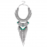 Boho Burnish SilverTone Gemstone Statement Chain Fringe Necklace