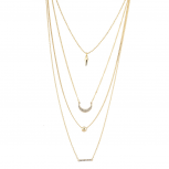 Gold Tone Spike Crystal Rhinestone Moon Geometric Necklace