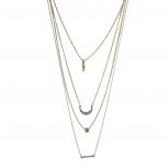 Burnished GoldLayered Crystal Rhinestone Geometric Necklace
