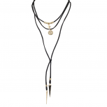 Goldtone Black Suede Cord Boho Lariat Choker Necklace
