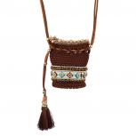 Brown/White  Multi Navajo Pouch Necklace