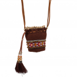 Brown/Red Multi Navajo Pouch Necklace