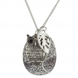 Boho Silver Engraved Owl Inspirational Cluster Charm Necklace