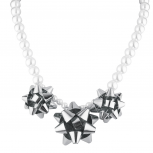 Pearl and Silver Tone Christmas Present Bow Statement Necklace