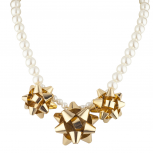 Pearl and Gold Tone Christmas Present Bow Statement Necklace