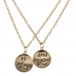 Gold Tone To Infinity and Beyond BFF Verbiage Necklace Set 2PC