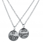Silver Tone To Infinity and Beyond BFF Verbiage Necklace Set 2PC
