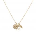 Goldtone Boho Good Luck Charm Elephant Leaf Verbiage Necklace