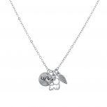 Silvertone Boho Good Luck Charm Elephant Leaf Verbiage Necklace