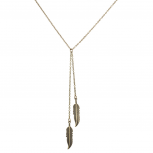 Boho Burnished Gold Feather Lariat Sexy-Y Necklace