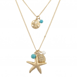 Nautical Goldtone and Turq Starfish Pearl Cross Layered Necklace