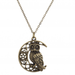 Burnished Gold Casted Owl crescent Moon Charm Necklace