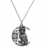Burnished Silver Casted Owl crescent Moon Charm Necklace