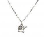 Silvertone Dainty Elephant Opal Stone Animal Charm Necklace