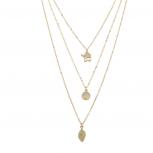 Boho Triple Layer Elephant Opal Leaf Charm Pendant Necklace