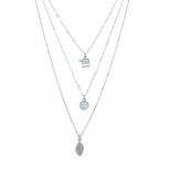 Boho Triple Layer Elephant OpalStone Leaf Charm Pendant Necklace