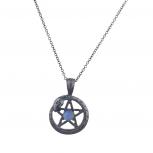 Hematite Pentagram Snake Wrap Blue Opal Charm Pendant Necklace