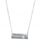 Silver Tone Cut Out S Initial Personalized Bar Necklace