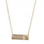 Gold Tone Cut Out S Initial Personalized Bar Necklace