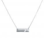 Silver Tone Cut Out J Initial Personalized Bar Necklace