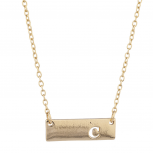 Gold Tone Cut Out A Initial Personalized Bar Necklace