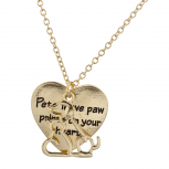 Gold Tone Pets Leave Paw Prints On Your Heart Pendant Necklace