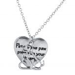 Silver Tone Pets Leave Paw Prints On Your Heart Pendant Necklace