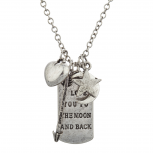 Burnish SilverTone I Love Your to the Moon Back Dog Tag Necklace
