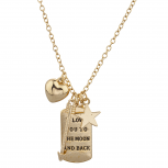 Gold Tone I Love Your to the Moon Back Dog Tag Charm Necklace