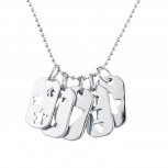 Silver Tone Cutout Celestial Mini Dog Tag Charm Pendant Necklace