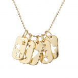 Gold Tone Cutout Celestial Mini Dog Tag Charm Pendant Necklace