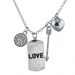 Silver Tone Love Dog Tag Assorted V Day Charm Pendant Necklace