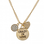 Gold Tone Crazy in Love Engraved Personalized Pendant Necklace