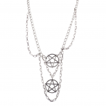 Burnished Silver Tone Layered Pentagram Witch Necklace