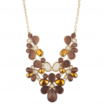 Tribal Floral Bib Chunky Stone Statement Necklace