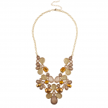 Gold Tone Brown Caviar Glitter Fall Holiday Statement Necklace