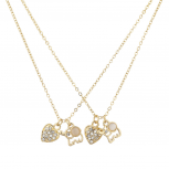 Gold Tone White Opal Elephant Pave Heart Best Friends Set 2PC
