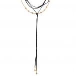 Black and Gold Tone Suede Multi Layer Lariat Choker Necklace