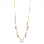 Gold Tone Christmas Holiday Snowflake Pearl Long Chain Necklace