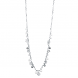 Silver Tone Christmas Holiday Snowflake Long Chain Necklace