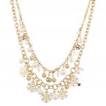 Gold Tone Christmas Holiday Winter WonderLand Snowflake Necklace