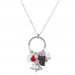 Silver Tone Christmas X-Mas Cluster Charms Long Pendant Necklace