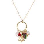 Gold Tone Christmas X-Mas Cluster Charms Long Pendant Necklace