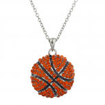 SilverTone Faux Red Rhinestone Large Basketball Pendant Necklace