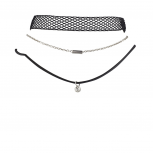 Black Mesh Silver Tone Bar Chain Black Cord Bezel Choker Set 3pc