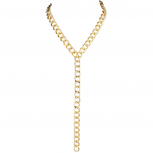 Goldtone Heavy Curb Chain Y Shaped Necklace