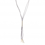 Gold Tone and Grey Faux Suede Lariat Style Choker