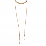 Boho Tan and Gold Tone Feather Suede Choker Lariat Necklace